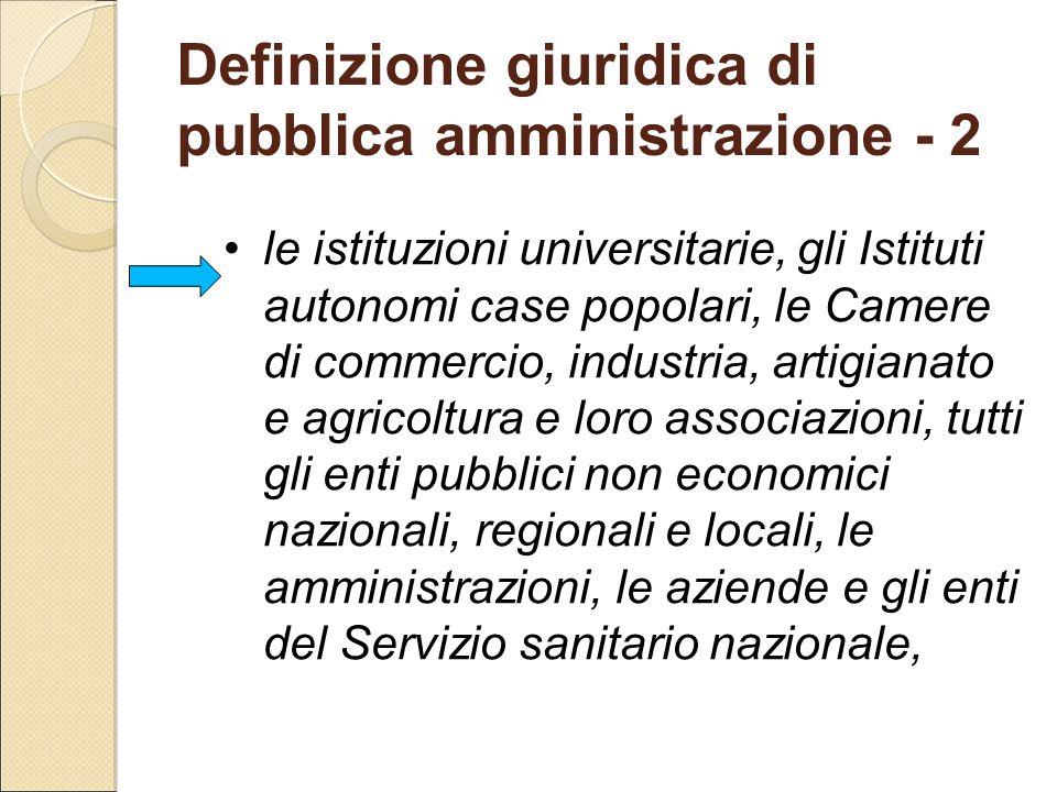 Definizione giuridica di pubblica amministrazione - 2 le istituzioni universitarie, gli Istituti autonomi case popolari, le Camere di commercio, indus