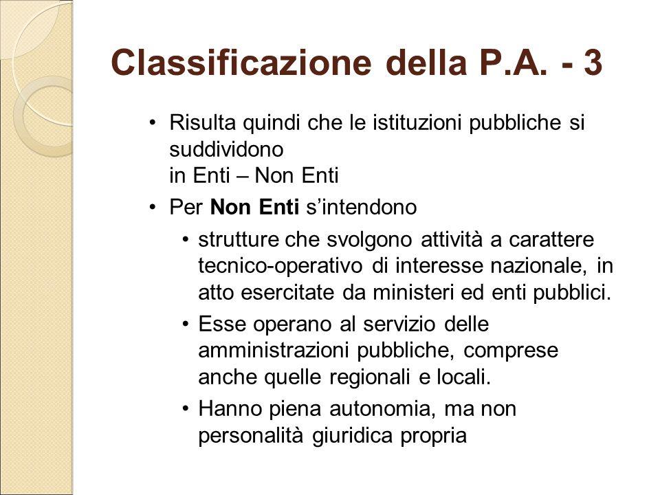 Classificazione della P.A. - 3 Risulta quindi che le istituzioni pubbliche si suddividono in Enti – Non Enti Per Non Enti s'intendono strutture che sv