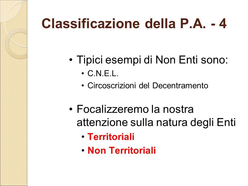 Classificazione della P.A. - 4 Tipici esempi di Non Enti sono: C.N.E.L. Circoscrizioni del Decentramento Focalizzeremo la nostra attenzione sulla natu