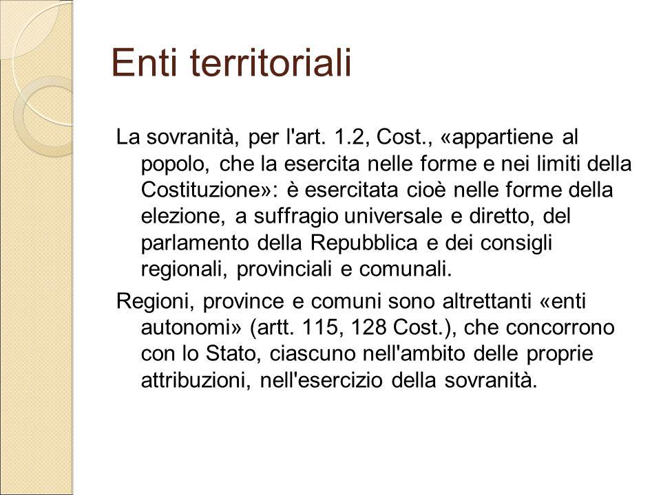 Enti territoriali La sovranità, per l'art. 1.2, Cost., «appartiene al popolo, che la esercita nelle forme e nei limiti della Costituzione»: è esercita