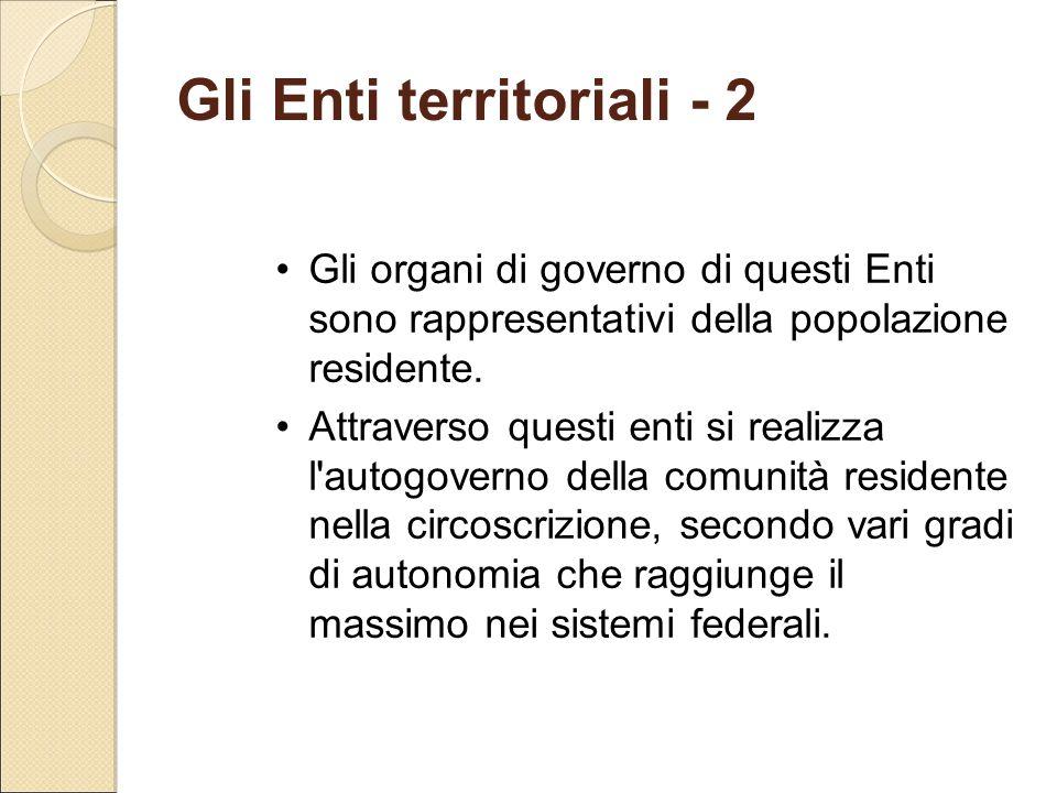 Gli Enti territoriali - 2 Gli organi di governo di questi Enti sono rappresentativi della popolazione residente. Attraverso questi enti si realizza l'