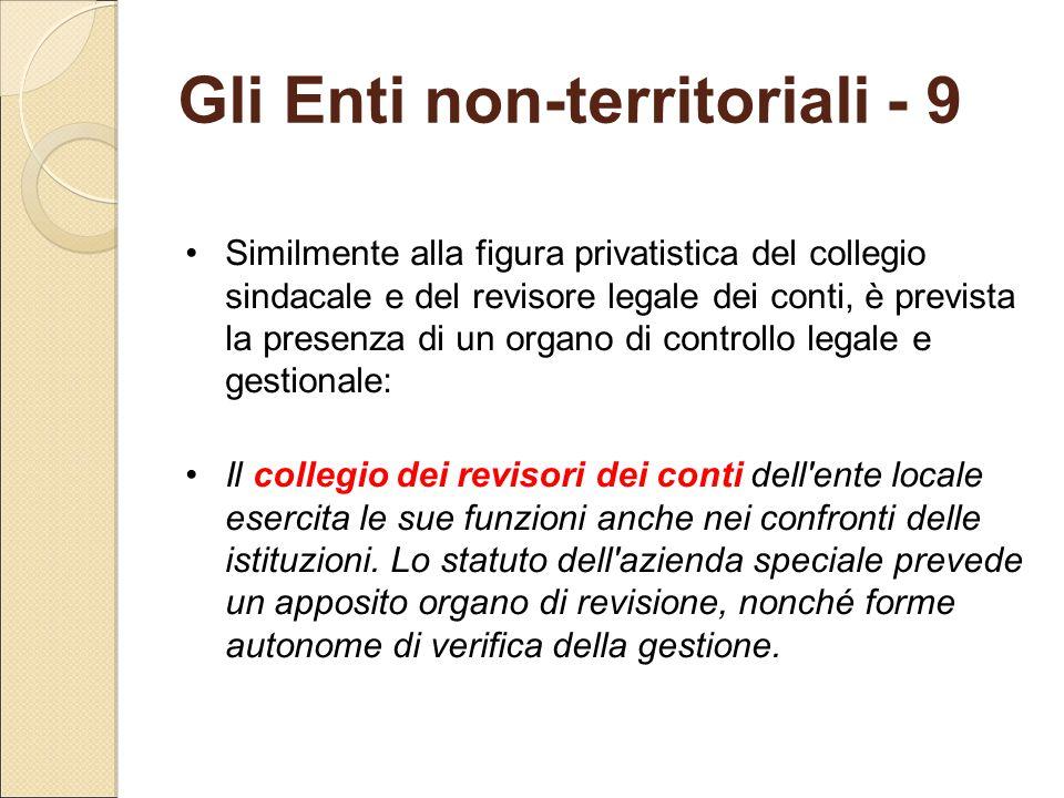 Gli Enti non-territoriali - 9 Similmente alla figura privatistica del collegio sindacale e del revisore legale dei conti, è prevista la presenza di un