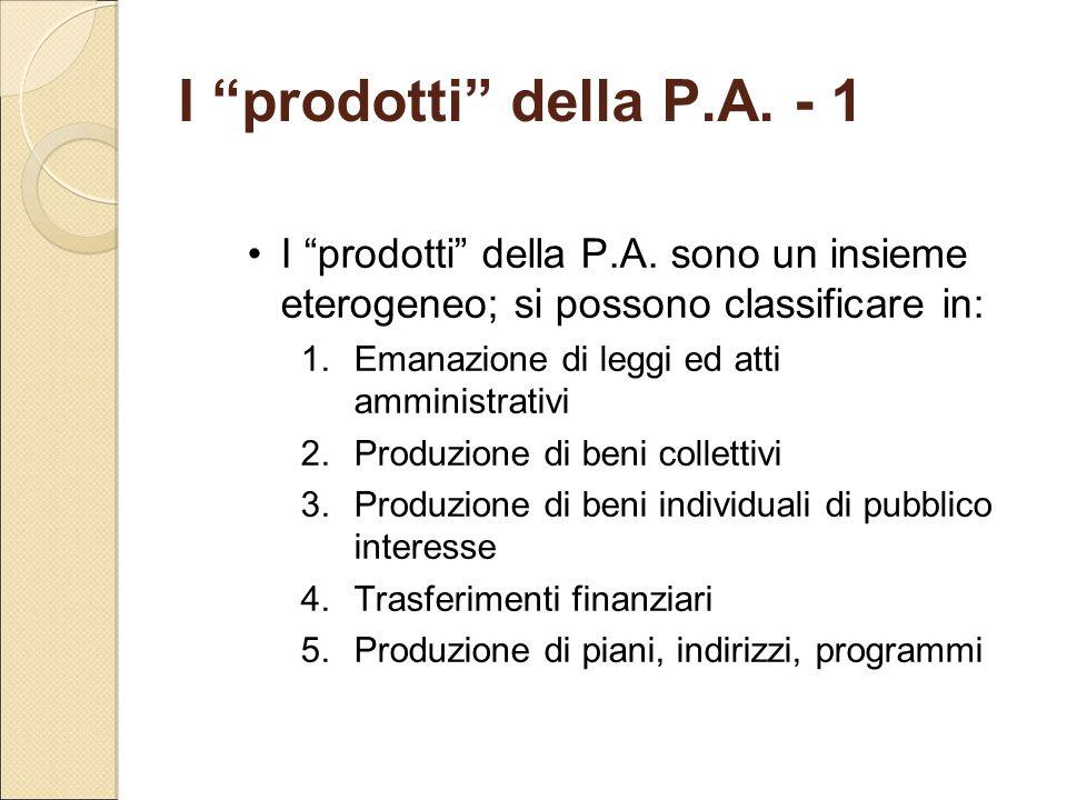 """I """"prodotti"""" della P.A. - 1 I """"prodotti"""" della P.A. sono un insieme eterogeneo; si possono classificare in: 1.Emanazione di leggi ed atti amministrati"""