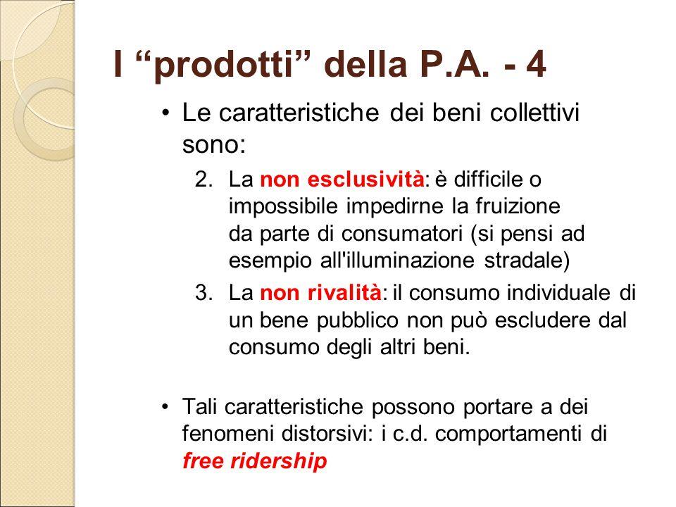 """I """"prodotti"""" della P.A. - 4 Le caratteristiche dei beni collettivi sono: 2.La non esclusività: è difficile o impossibile impedirne la fruizione da par"""