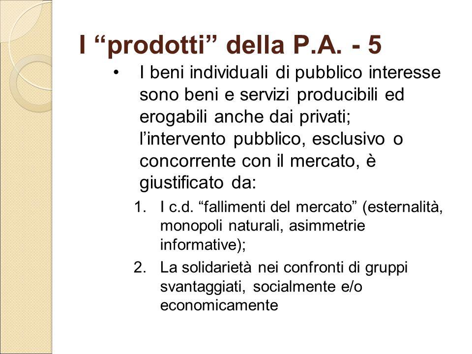 """I """"prodotti"""" della P.A. - 5 I beni individuali di pubblico interesse sono beni e servizi producibili ed erogabili anche dai privati; l'intervento pubb"""