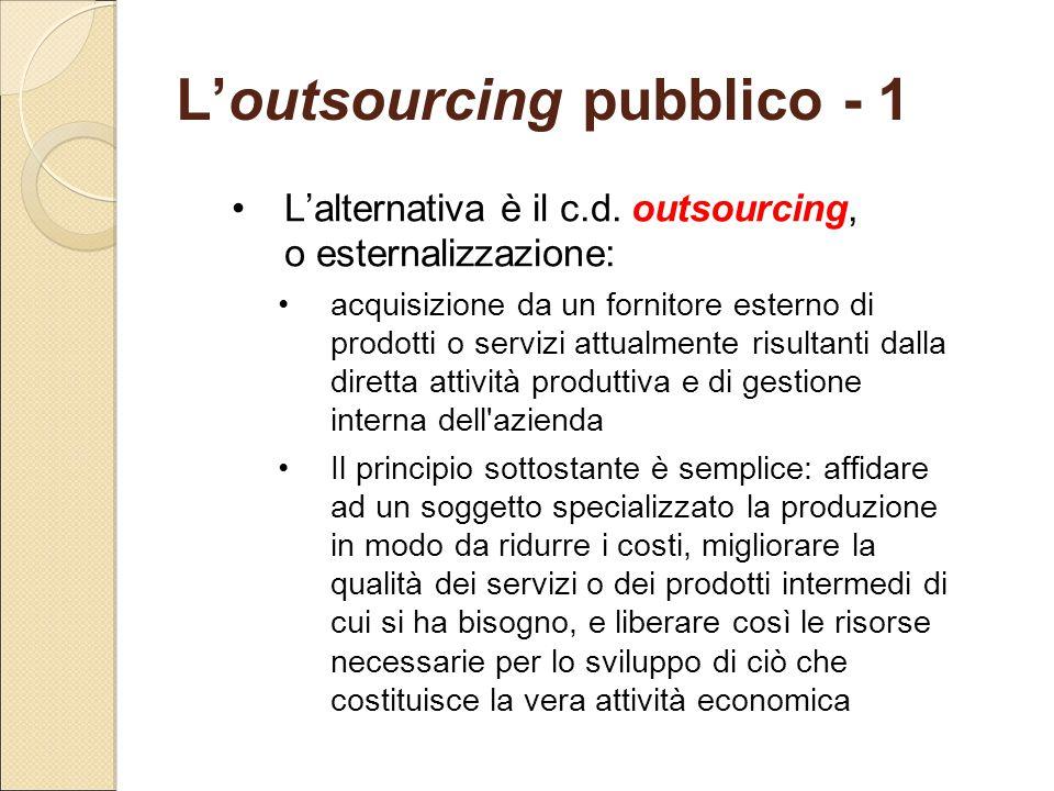 L'outsourcing pubblico - 1 L'alternativa è il c.d. outsourcing, o esternalizzazione: acquisizione da un fornitore esterno di prodotti o servizi attual