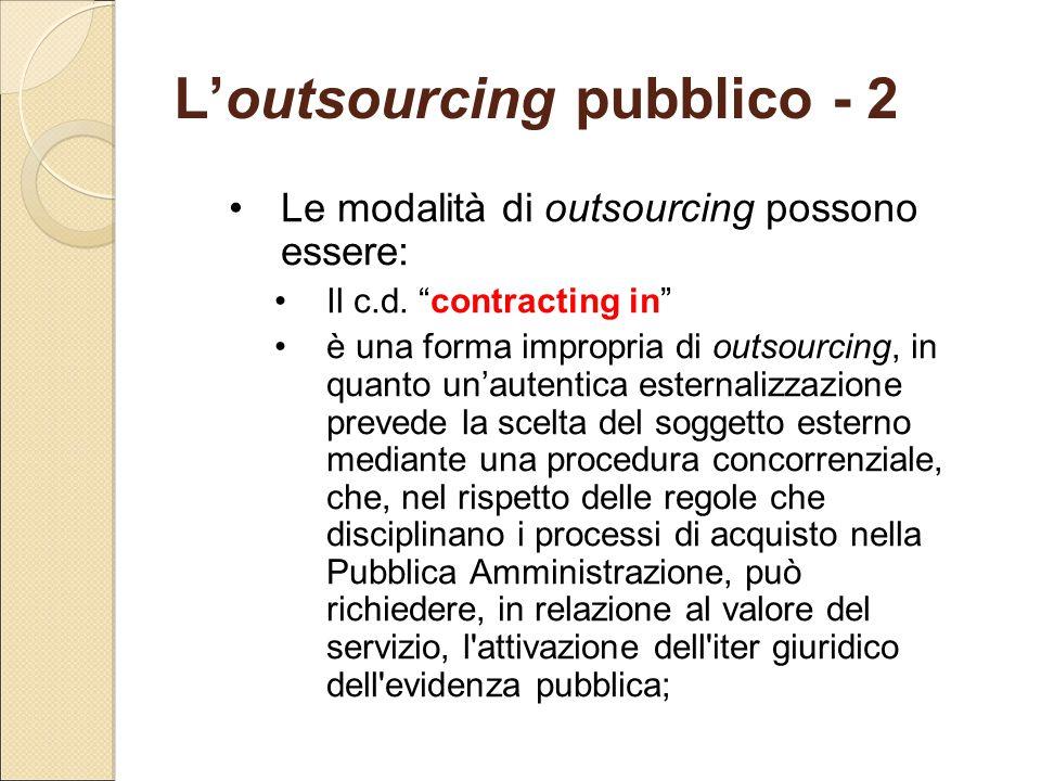 """L'outsourcing pubblico - 2 Le modalità di outsourcing possono essere: Il c.d. """"contracting in"""" è una forma impropria di outsourcing, in quanto un'aute"""