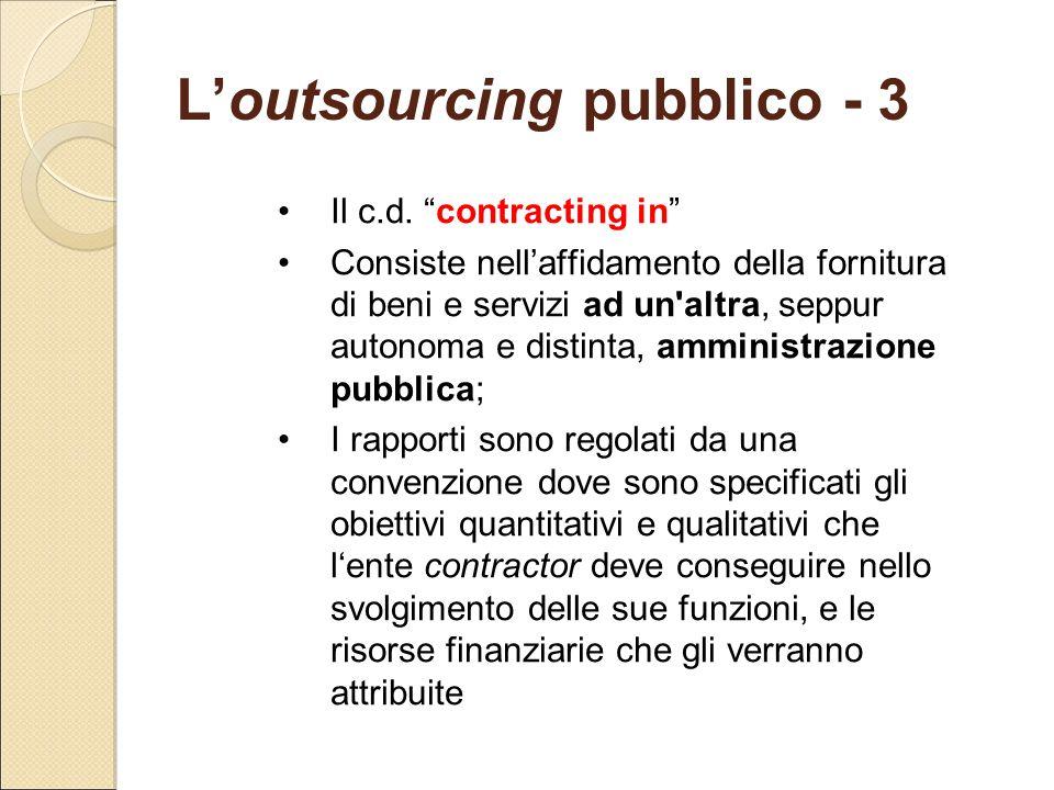 """L'outsourcing pubblico - 3 Il c.d. """"contracting in"""" Consiste nell'affidamento della fornitura di beni e servizi ad un'altra, seppur autonoma e distint"""