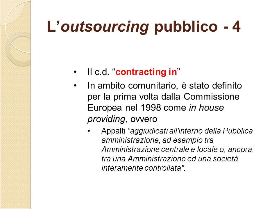 """L'outsourcing pubblico - 4 Il c.d. """"contracting in"""" In ambito comunitario, è stato definito per la prima volta dalla Commissione Europea nel 1998 come"""