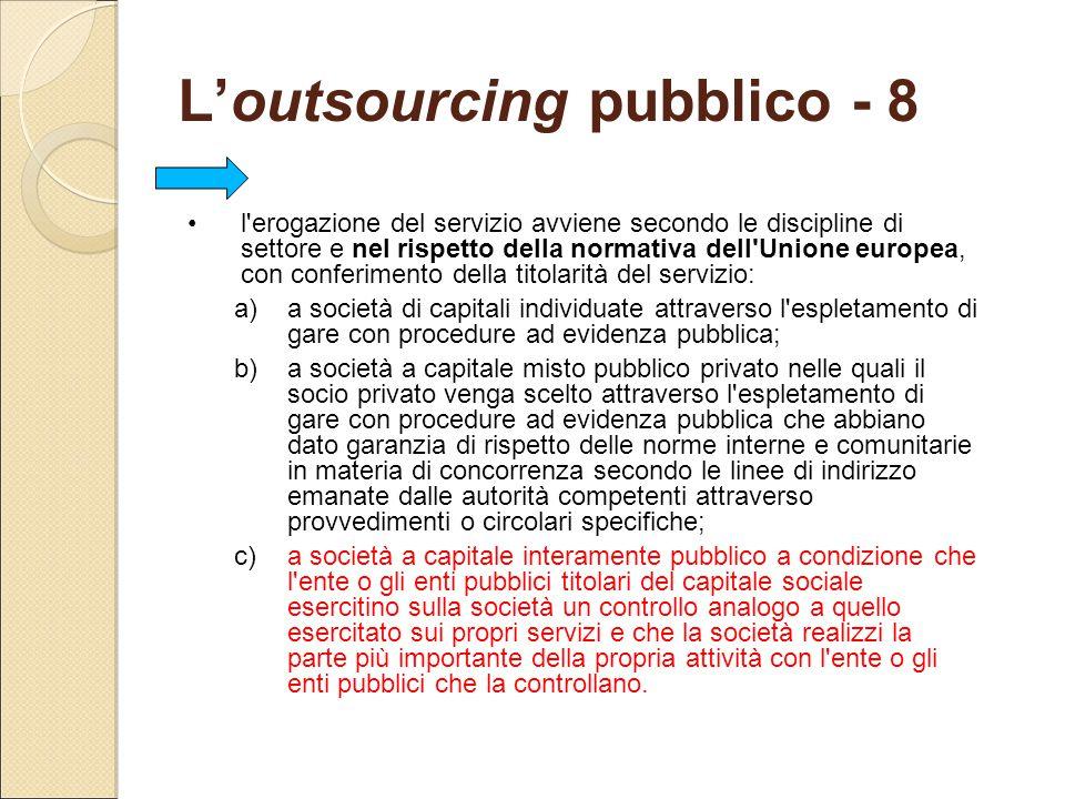 L'outsourcing pubblico - 8 l'erogazione del servizio avviene secondo le discipline di settore e nel rispetto della normativa dell'Unione europea, con