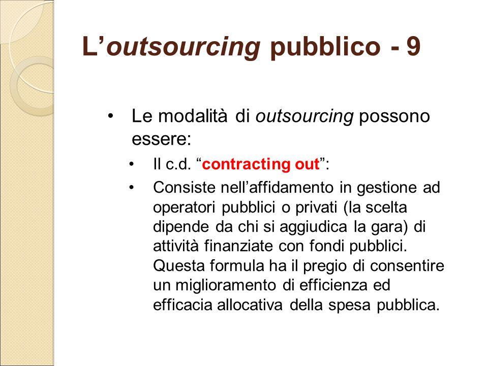 """L'outsourcing pubblico - 9 Le modalità di outsourcing possono essere: Il c.d. """"contracting out"""": Consiste nell'affidamento in gestione ad operatori pu"""