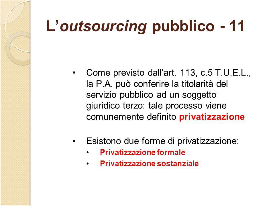 L'outsourcing pubblico - 11 Come previsto dall'art. 113, c.5 T.U.E.L., la P.A. può conferire la titolarità del servizio pubblico ad un soggetto giurid