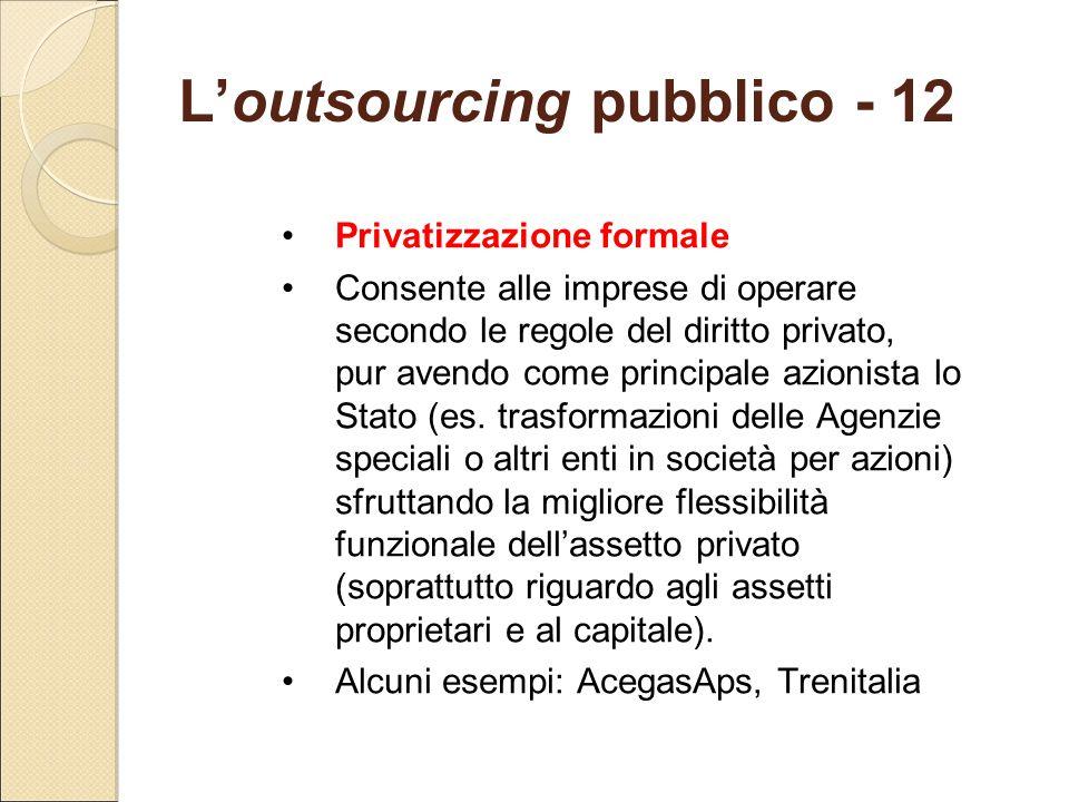 L'outsourcing pubblico - 12 Privatizzazione formale Consente alle imprese di operare secondo le regole del diritto privato, pur avendo come principale