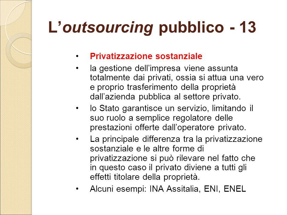 L'outsourcing pubblico - 13 Privatizzazione sostanziale la gestione dell'impresa viene assunta totalmente dai privati, ossia si attua una vero e propr