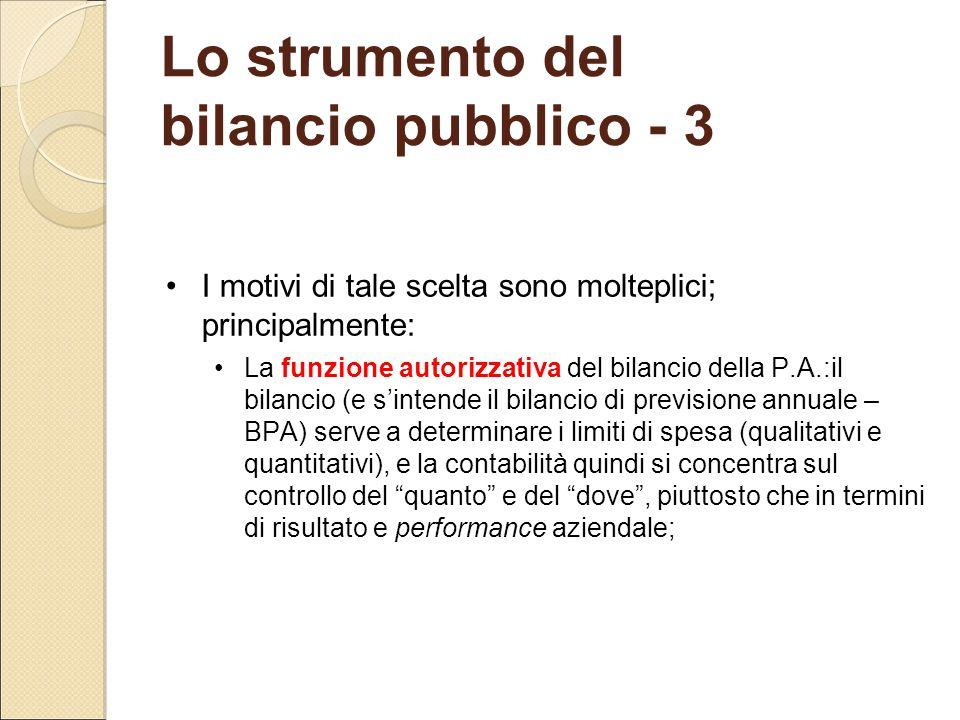 Lo strumento del bilancio pubblico - 3 I motivi di tale scelta sono molteplici; principalmente: La funzione autorizzativa del bilancio della P.A.:il b