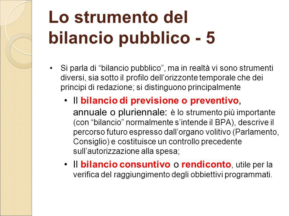 """Lo strumento del bilancio pubblico - 5 Si parla di """"bilancio pubblico"""", ma in realtà vi sono strumenti diversi, sia sotto il profilo dell'orizzonte te"""