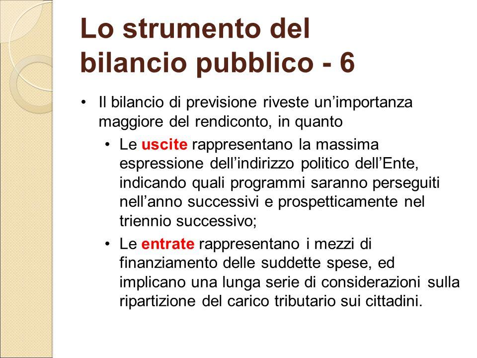 Lo strumento del bilancio pubblico - 6 Il bilancio di previsione riveste un'importanza maggiore del rendiconto, in quanto Le uscite rappresentano la m