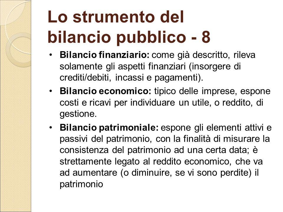 Lo strumento del bilancio pubblico - 8 Bilancio finanziario: come già descritto, rileva solamente gli aspetti finanziari (insorgere di crediti/debiti,