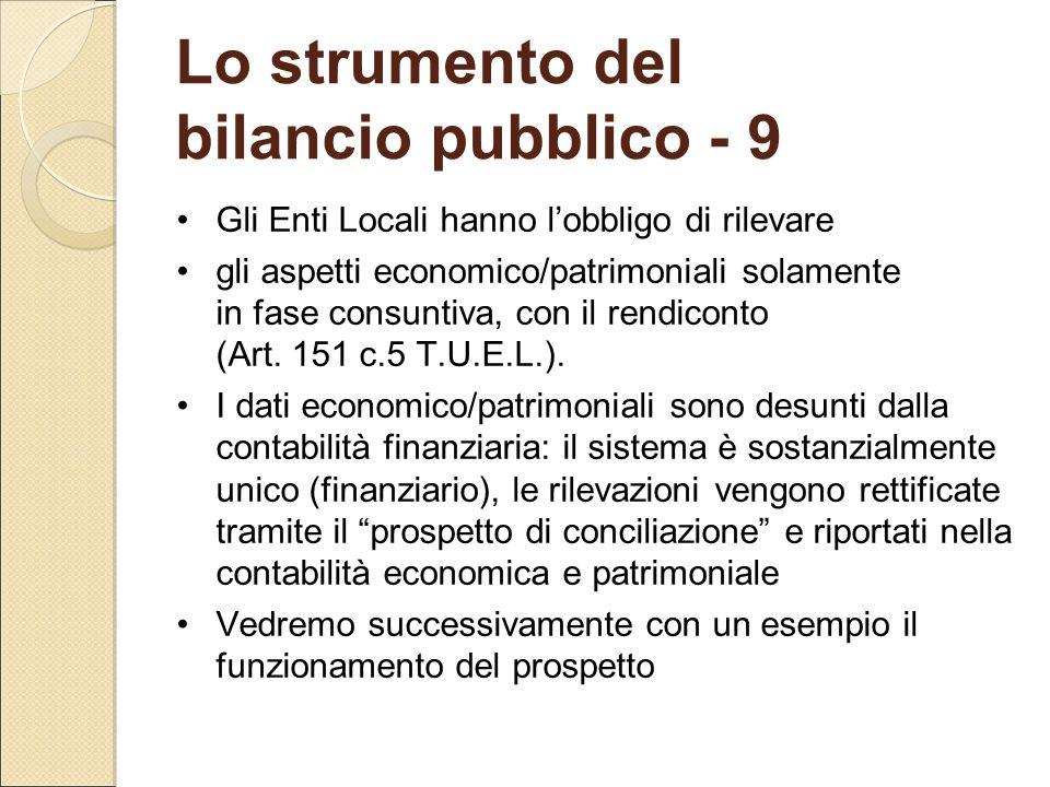 Lo strumento del bilancio pubblico - 9 Gli Enti Locali hanno l'obbligo di rilevare gli aspetti economico/patrimoniali solamente in fase consuntiva, co