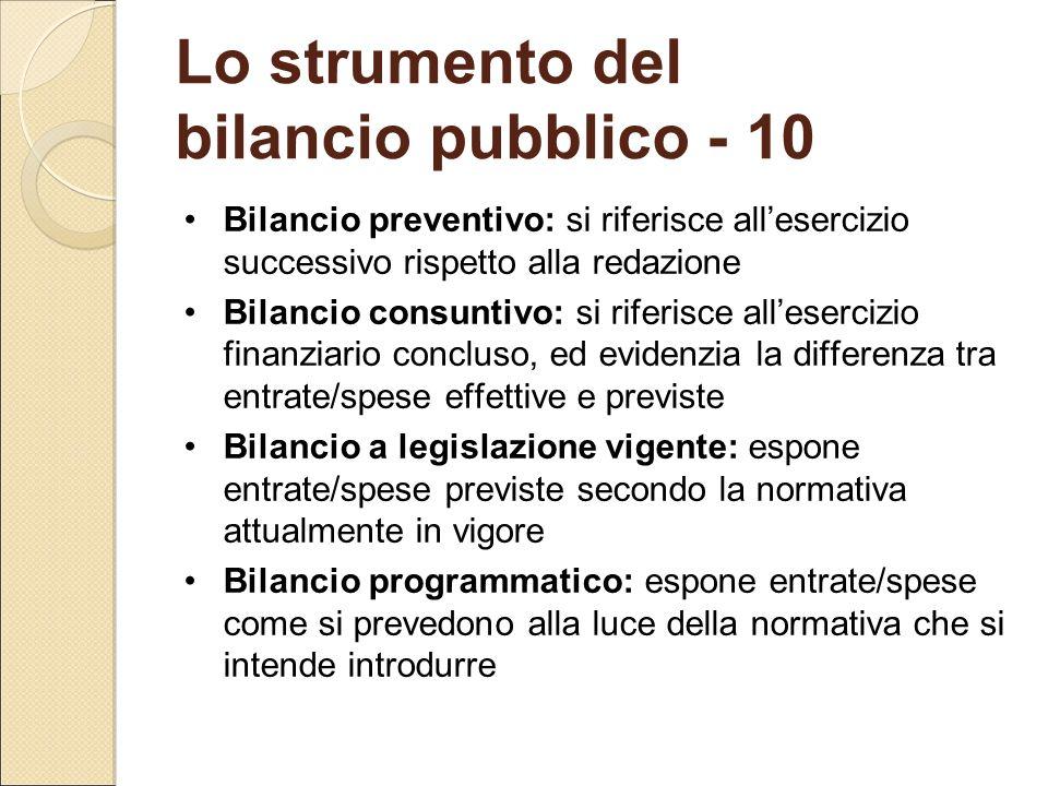 Lo strumento del bilancio pubblico - 10 Bilancio preventivo: si riferisce all'esercizio successivo rispetto alla redazione Bilancio consuntivo: si rif