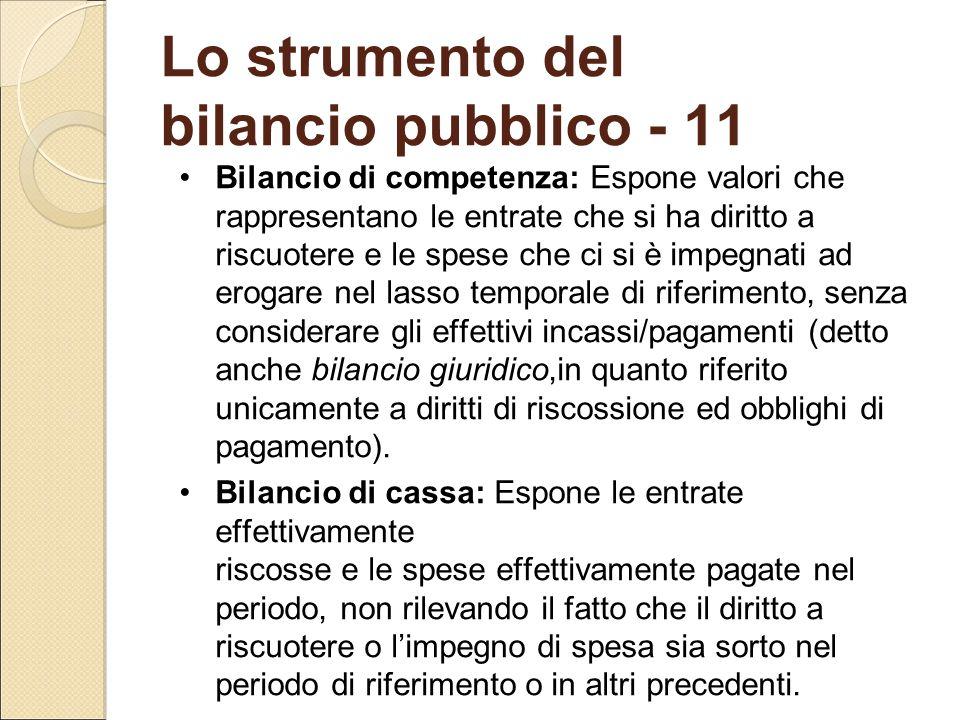 Lo strumento del bilancio pubblico - 11 Bilancio di competenza: Espone valori che rappresentano le entrate che si ha diritto a riscuotere e le spese c