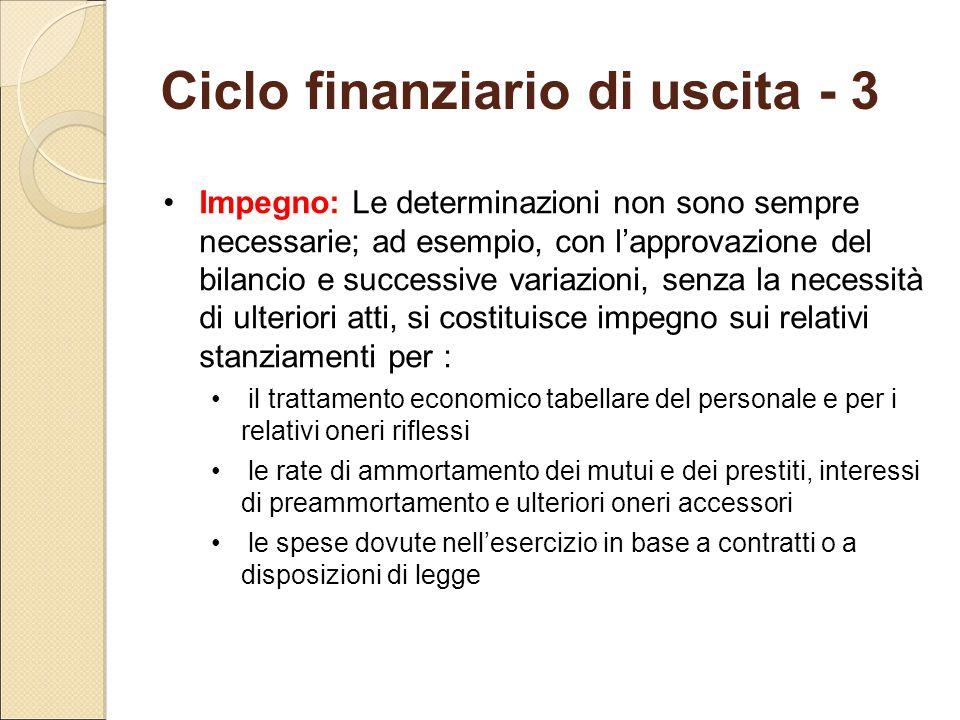 Ciclo finanziario di uscita - 3 Impegno: Le determinazioni non sono sempre necessarie; ad esempio, con l'approvazione del bilancio e successive variaz