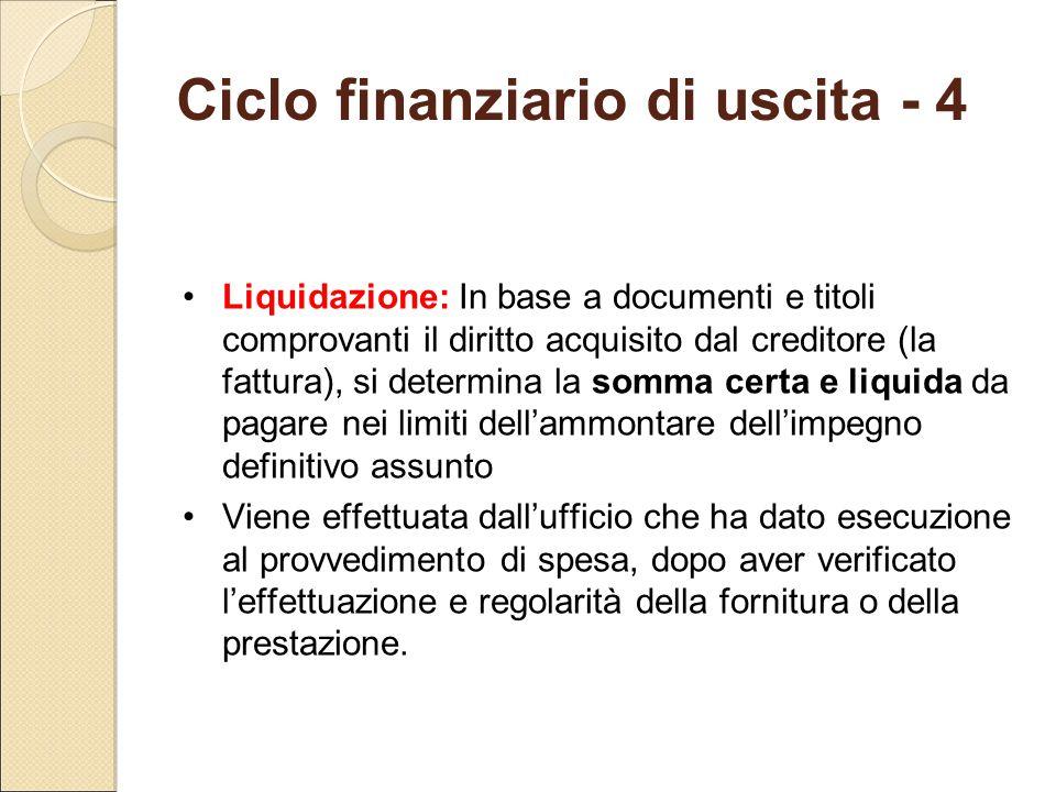 Ciclo finanziario di uscita - 4 Liquidazione: In base a documenti e titoli comprovanti il diritto acquisito dal creditore (la fattura), si determina l