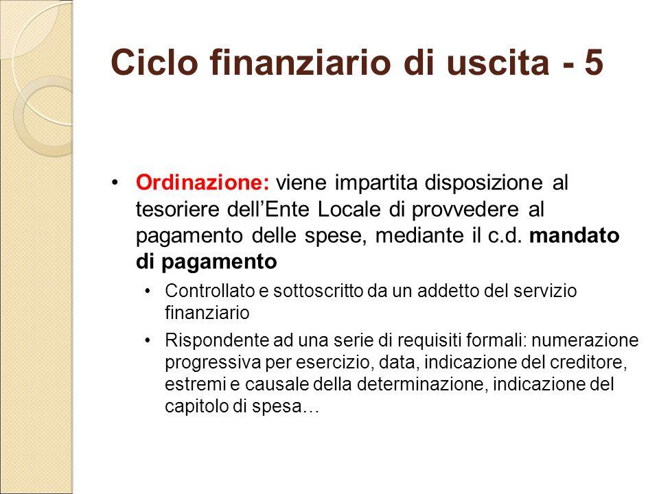 Ciclo finanziario di uscita - 5 Ordinazione: viene impartita disposizione al tesoriere dell'Ente Locale di provvedere al pagamento delle spese, median
