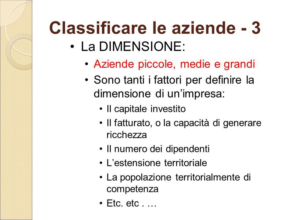 Classificare le aziende - 3 La DIMENSIONE: Aziende piccole, medie e grandi Sono tanti i fattori per definire la dimensione di un'impresa: Il capitale