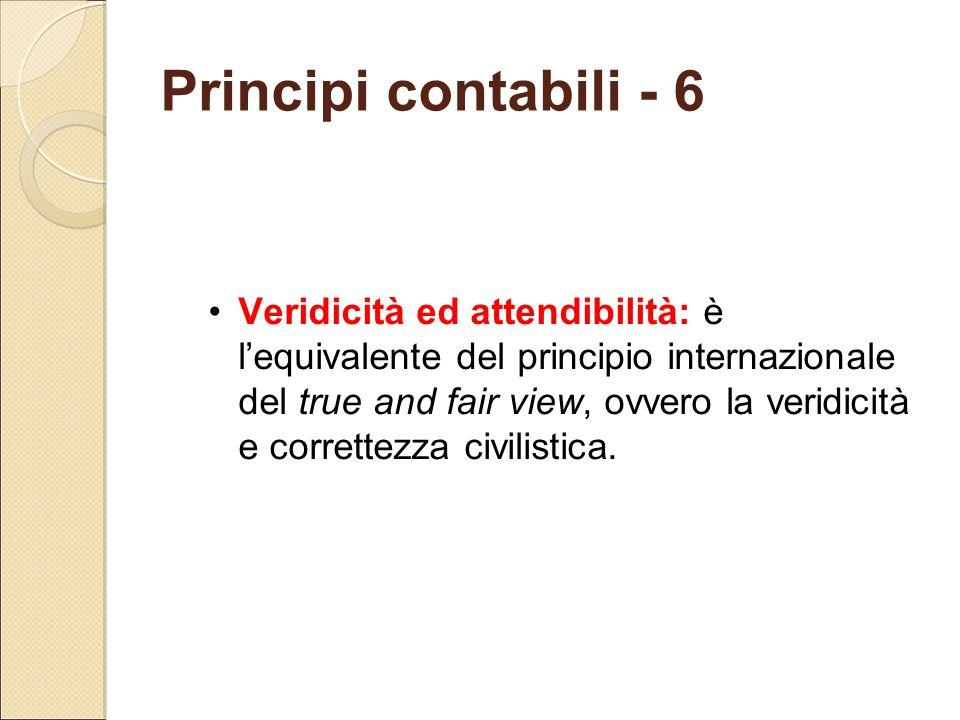 Principi contabili - 6 Veridicità ed attendibilità: è l'equivalente del principio internazionale del true and fair view, ovvero la veridicità e corret