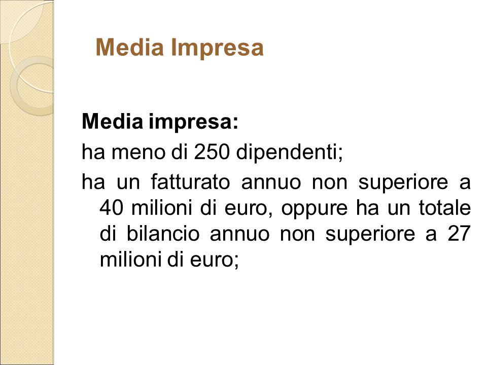 Media impresa: ha meno di 250 dipendenti; ha un fatturato annuo non superiore a 40 milioni di euro, oppure ha un totale di bilancio annuo non superior