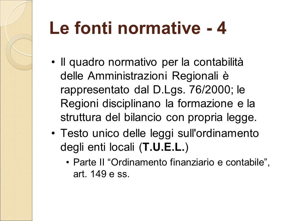 Le fonti normative - 4 Il quadro normativo per la contabilità delle Amministrazioni Regionali è rappresentato dal D.Lgs. 76/2000; le Regioni disciplin