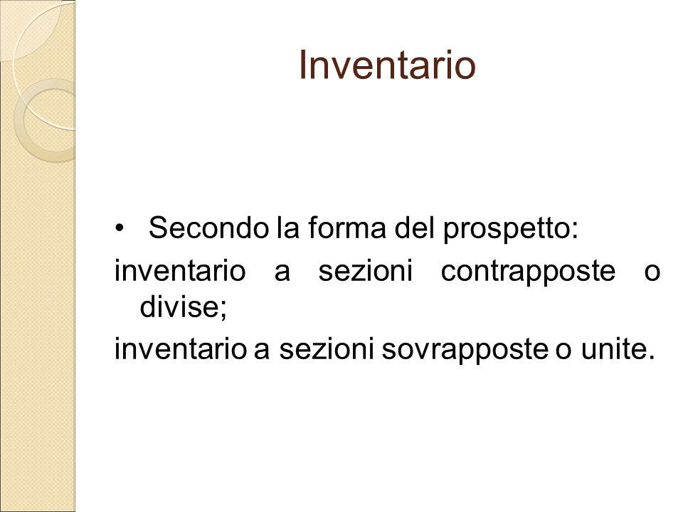 Inventario Secondo la forma del prospetto: inventario a sezioni contrapposte o divise; inventario a sezioni sovrapposte o unite.