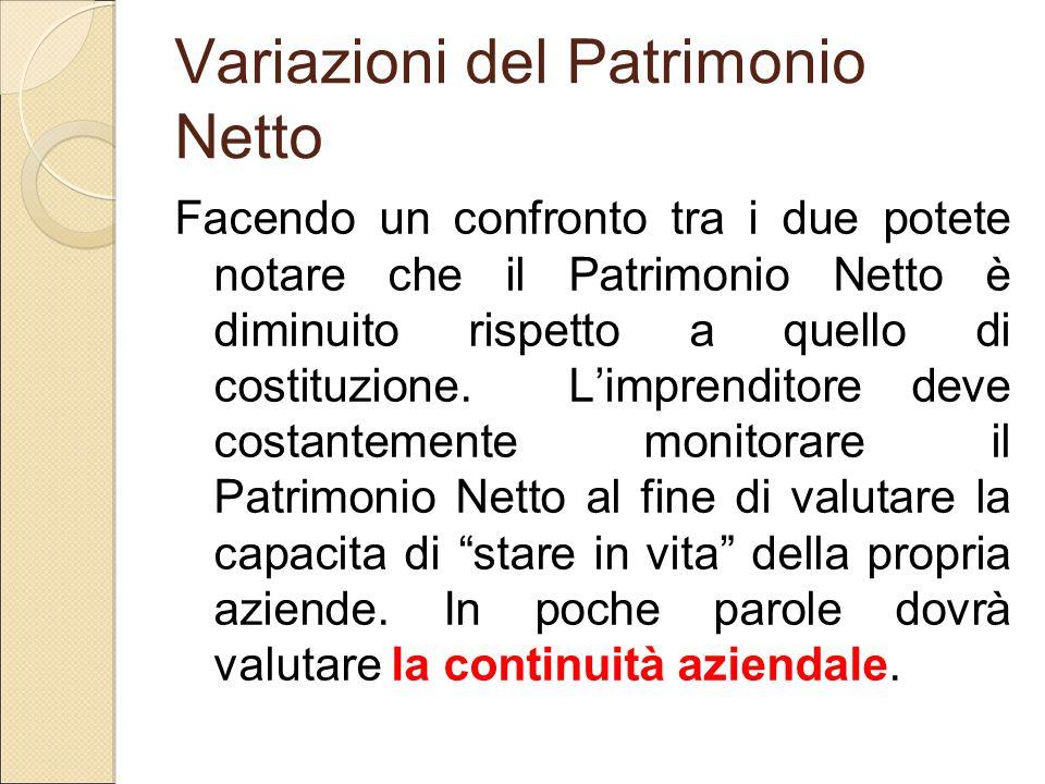 Variazioni del Patrimonio Netto Facendo un confronto tra i due potete notare che il Patrimonio Netto è diminuito rispetto a quello di costituzione. L'