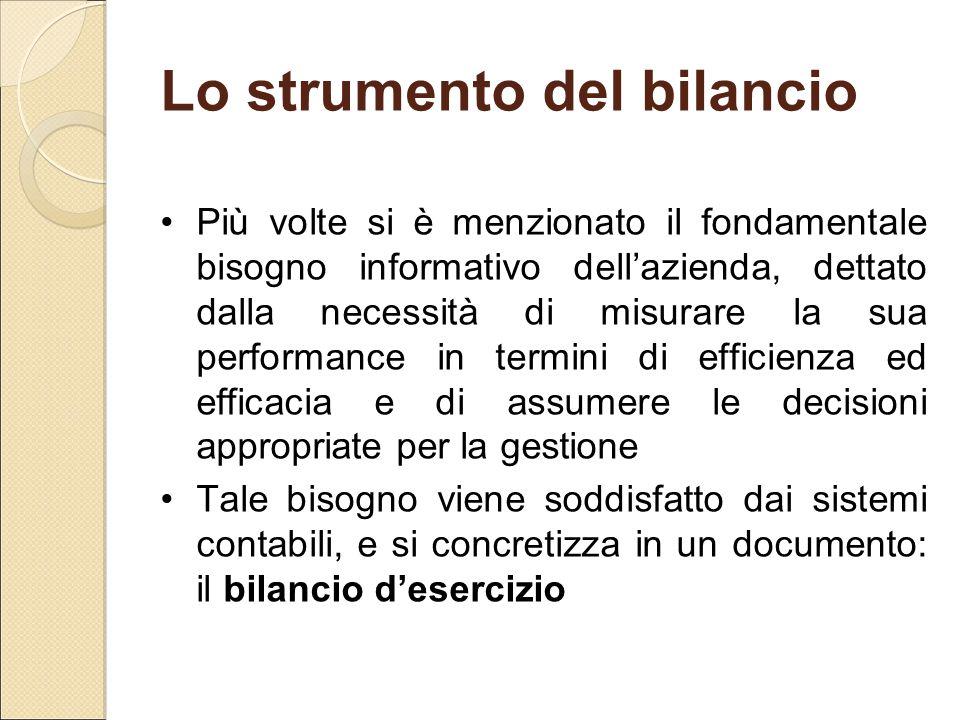 Lo strumento del bilancio Più volte si è menzionato il fondamentale bisogno informativo dell'azienda, dettato dalla necessità di misurare la sua perfo