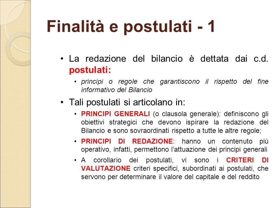 Finalità e postulati - 1 La redazione del bilancio è dettata dai c.d. postulati: principi o regole che garantiscono il rispetto del fine informativo d