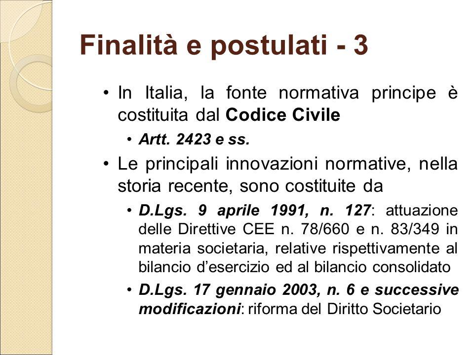 Finalità e postulati - 3 In Italia, la fonte normativa principe è costituita dal Codice Civile Artt. 2423 e ss. Le principali innovazioni normative, n