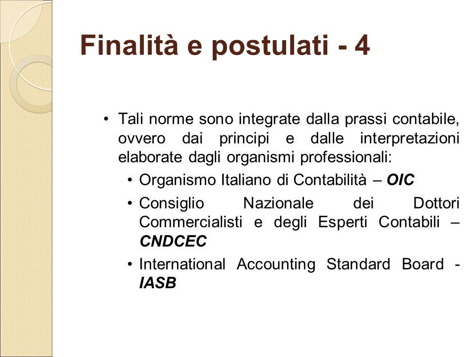 Finalità e postulati - 4 Tali norme sono integrate dalla prassi contabile, ovvero dai principi e dalle interpretazioni elaborate dagli organismi profe