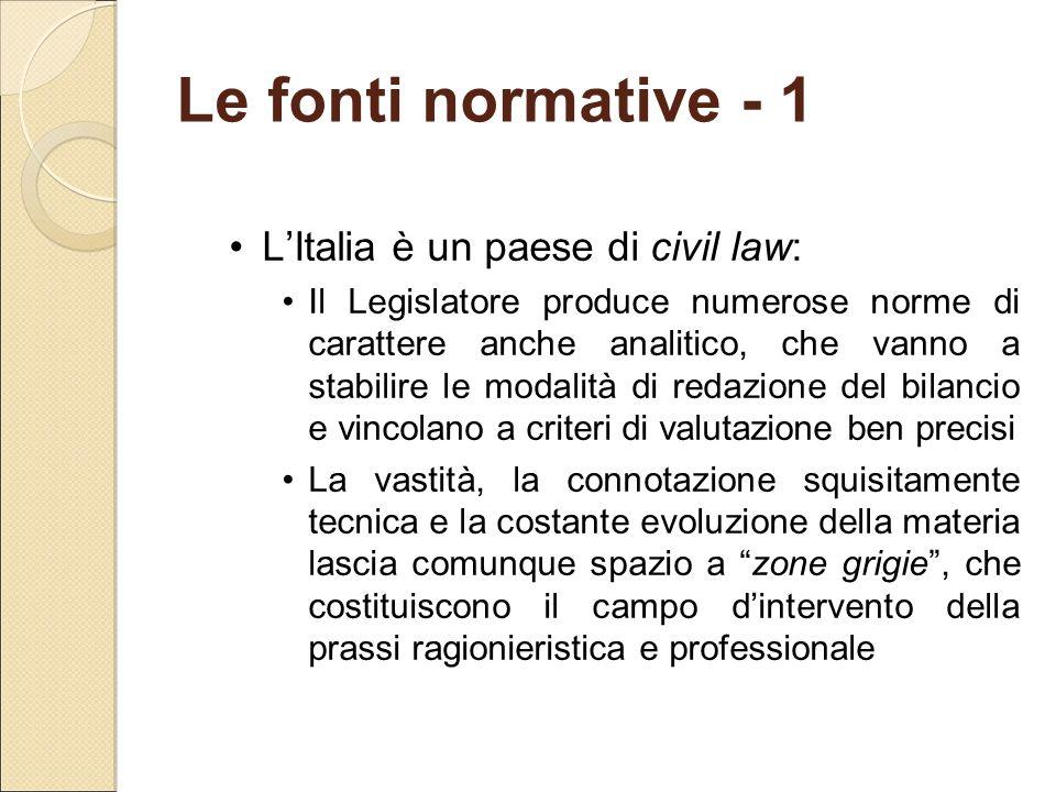Le fonti normative - 1 L'Italia è un paese di civil law: Il Legislatore produce numerose norme di carattere anche analitico, che vanno a stabilire le
