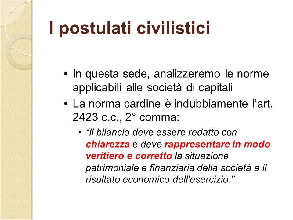 I postulati civilistici In questa sede, analizzeremo le norme applicabili alle società di capitali La norma cardine è indubbiamente l'art. 2423 c.c.,