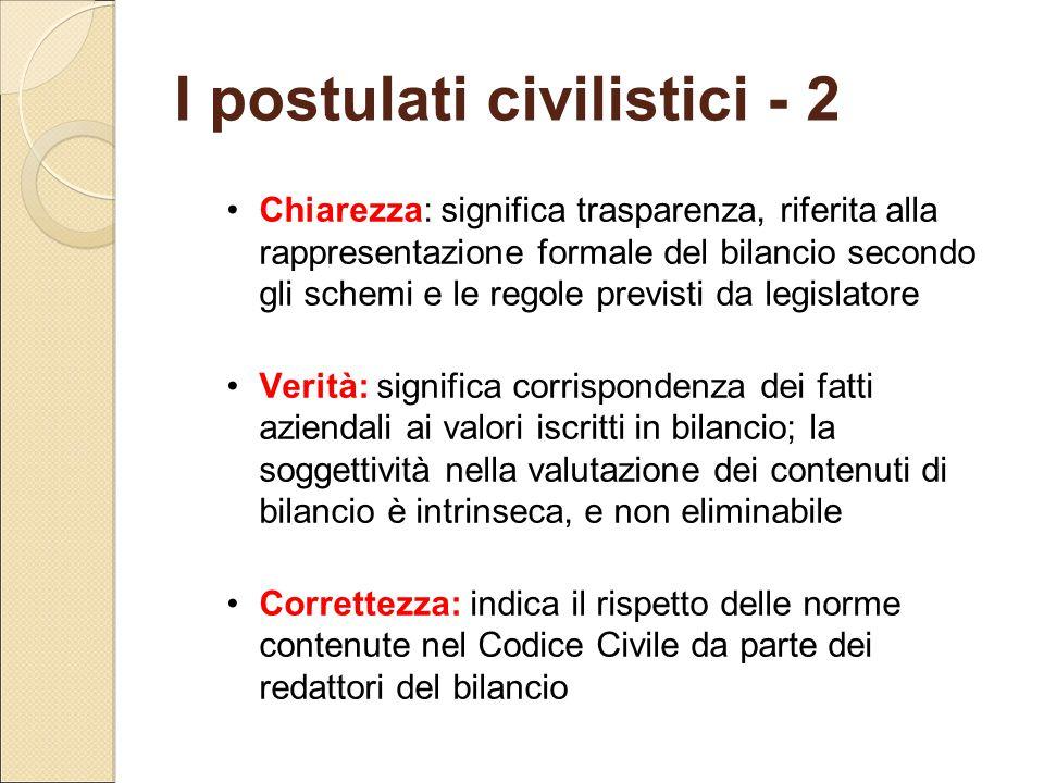 I postulati civilistici - 2 Chiarezza: significa trasparenza, riferita alla rappresentazione formale del bilancio secondo gli schemi e le regole previ