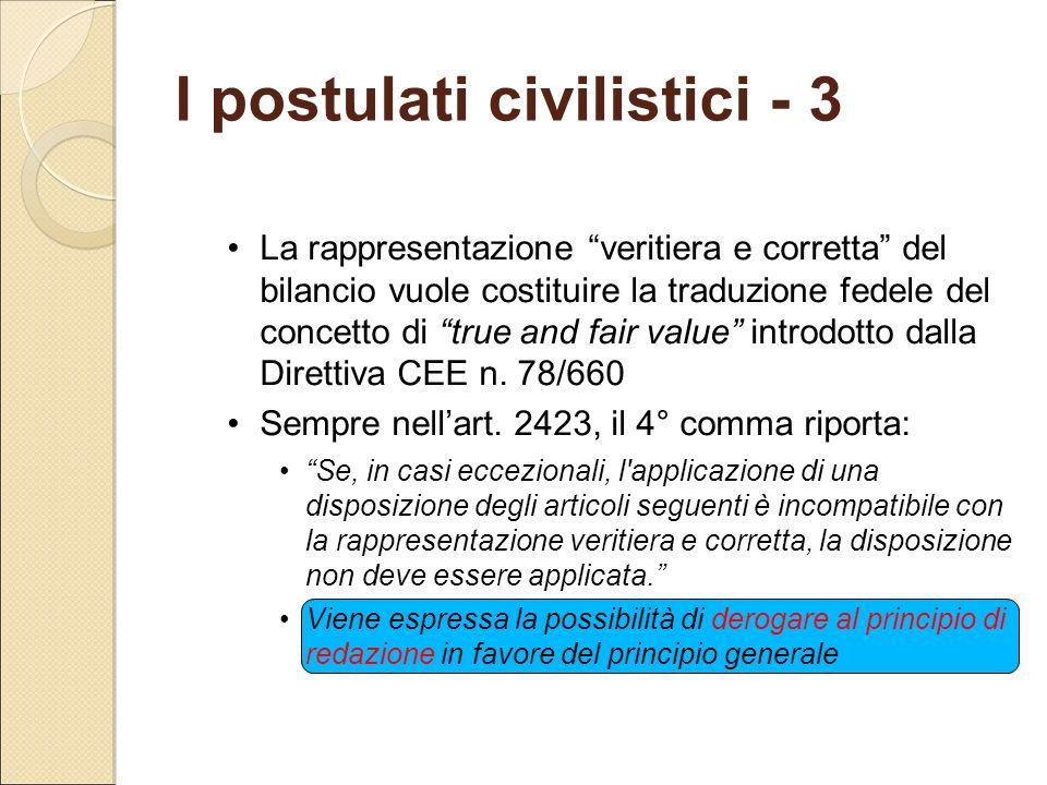 """I postulati civilistici - 3 La rappresentazione """"veritiera e corretta"""" del bilancio vuole costituire la traduzione fedele del concetto di """"true and fa"""