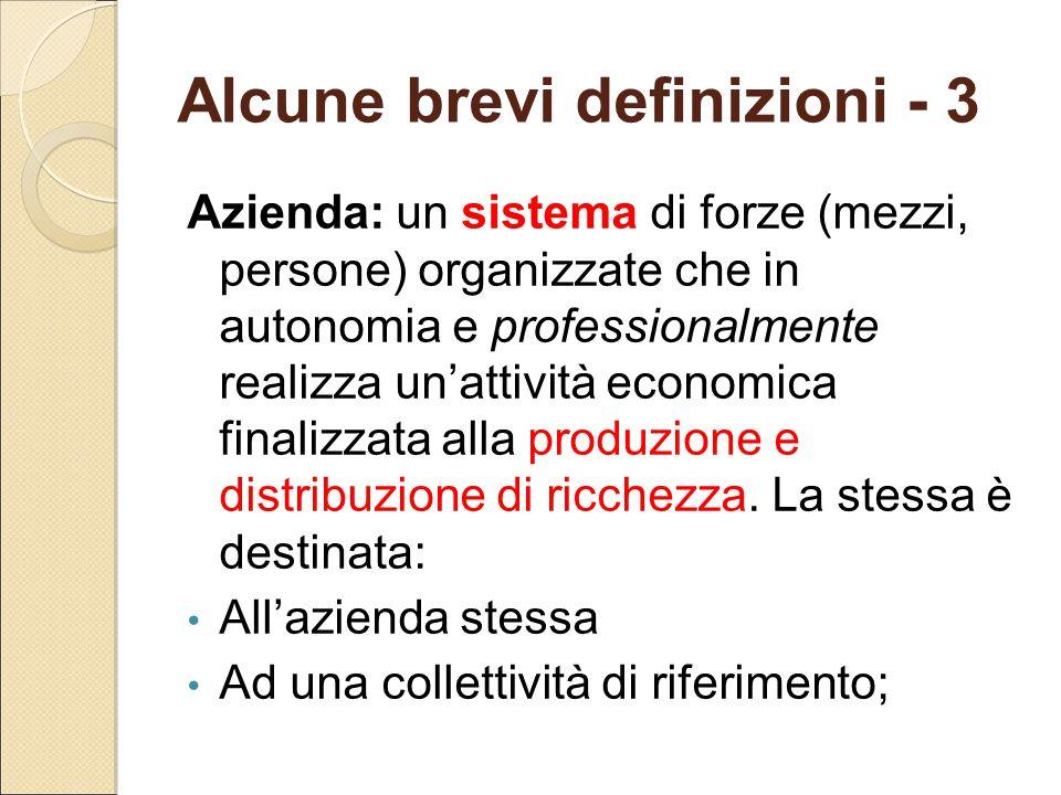 Alcune brevi definizioni - 3 Azienda: un sistema di forze (mezzi, persone) organizzate che in autonomia e professionalmente realizza un'attività econo