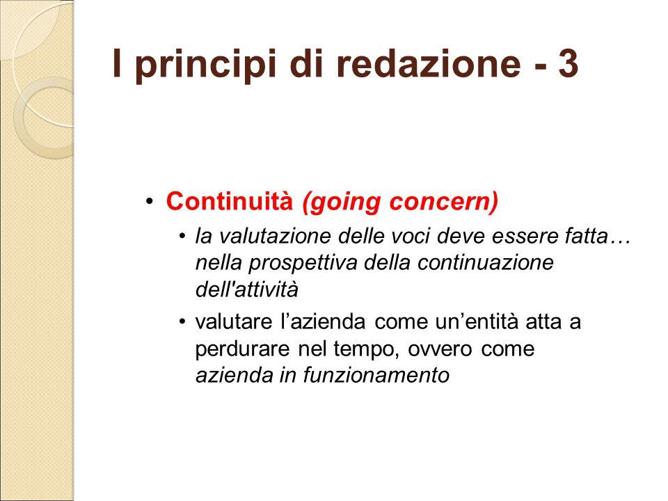 Continuità (going concern) la valutazione delle voci deve essere fatta… nella prospettiva della continuazione dell'attività valutare l'azienda come un