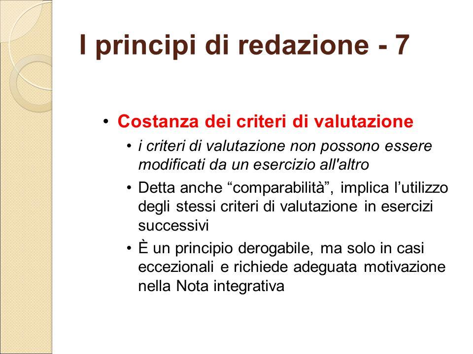 """Costanza dei criteri di valutazione i criteri di valutazione non possono essere modificati da un esercizio all'altro Detta anche """"comparabilità"""", impl"""