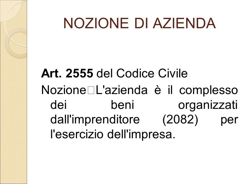 NOZIONE DI AZIENDA Art. 2555 del Codice Civile Nozione L'azienda è il complesso dei beni organizzati dall'imprenditore (2082) per l'esercizio dell'imp
