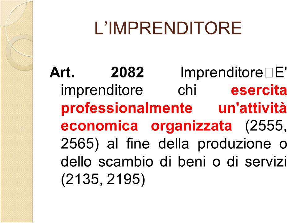 L'IMPRENDITORE Art. 2082 Imprenditore E' imprenditore chi esercita professionalmente un'attività economica organizzata (2555, 2565) al fine della prod