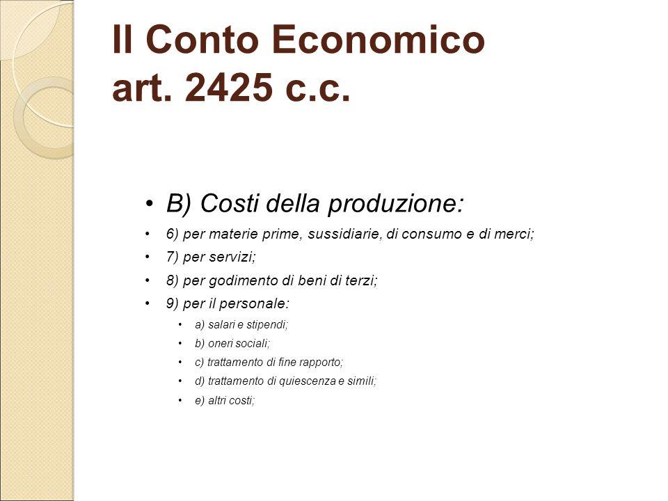 B) Costi della produzione: 6) per materie prime, sussidiarie, di consumo e di merci; 7) per servizi; 8) per godimento di beni di terzi; 9) per il pers