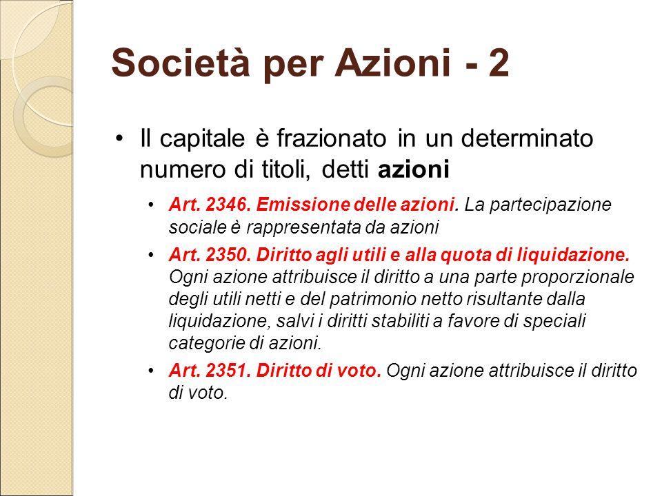 Società per Azioni - 2 Il capitale è frazionato in un determinato numero di titoli, detti azioni Art. 2346. Emissione delle azioni. La partecipazione