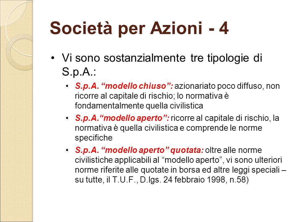 """Società per Azioni - 4 Vi sono sostanzialmente tre tipologie di S.p.A.: S.p.A. """"modello chiuso"""": azionariato poco diffuso, non ricorre al capitale di"""